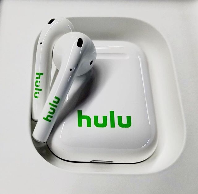 The top of the line for the top of the line! We're pretty excited over these custom apple AirPods we made for our friends at @hulu 😁🎧✨ #custom #airpods #swag #comotion #yeswecan