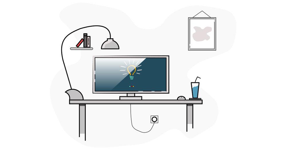 Desk Office Flat Design by Svetlomir Tsvetanov