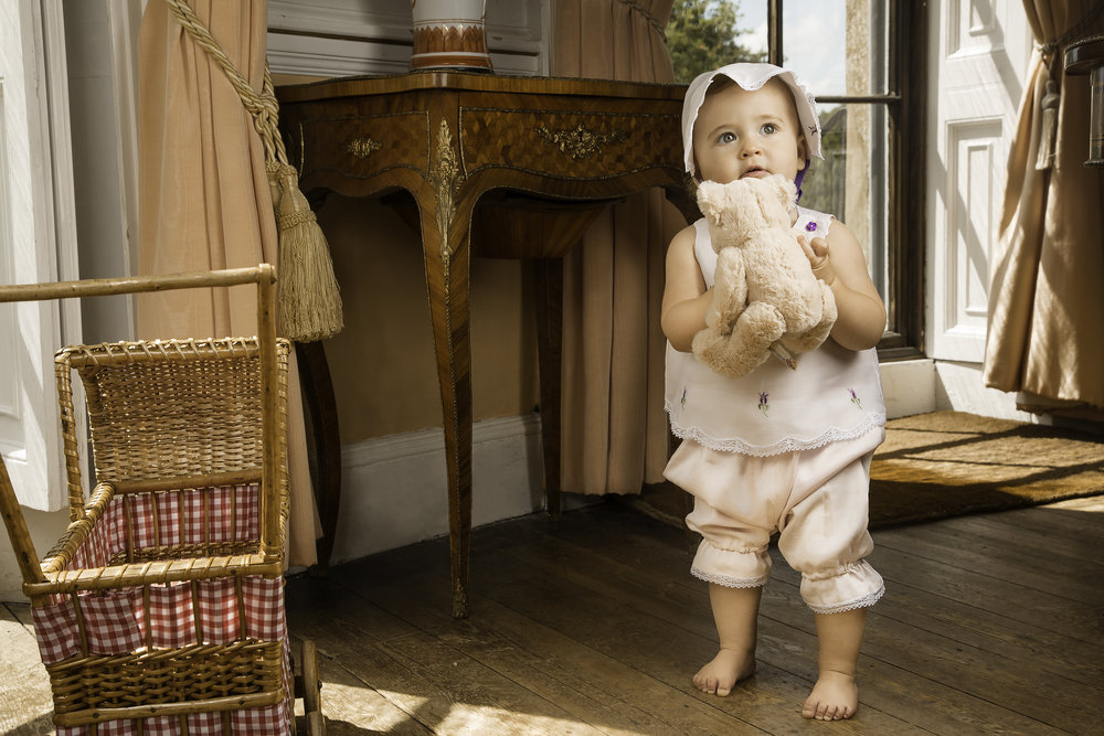 Baby Rosie looking adorable in one of Dawn Clarke's designs
