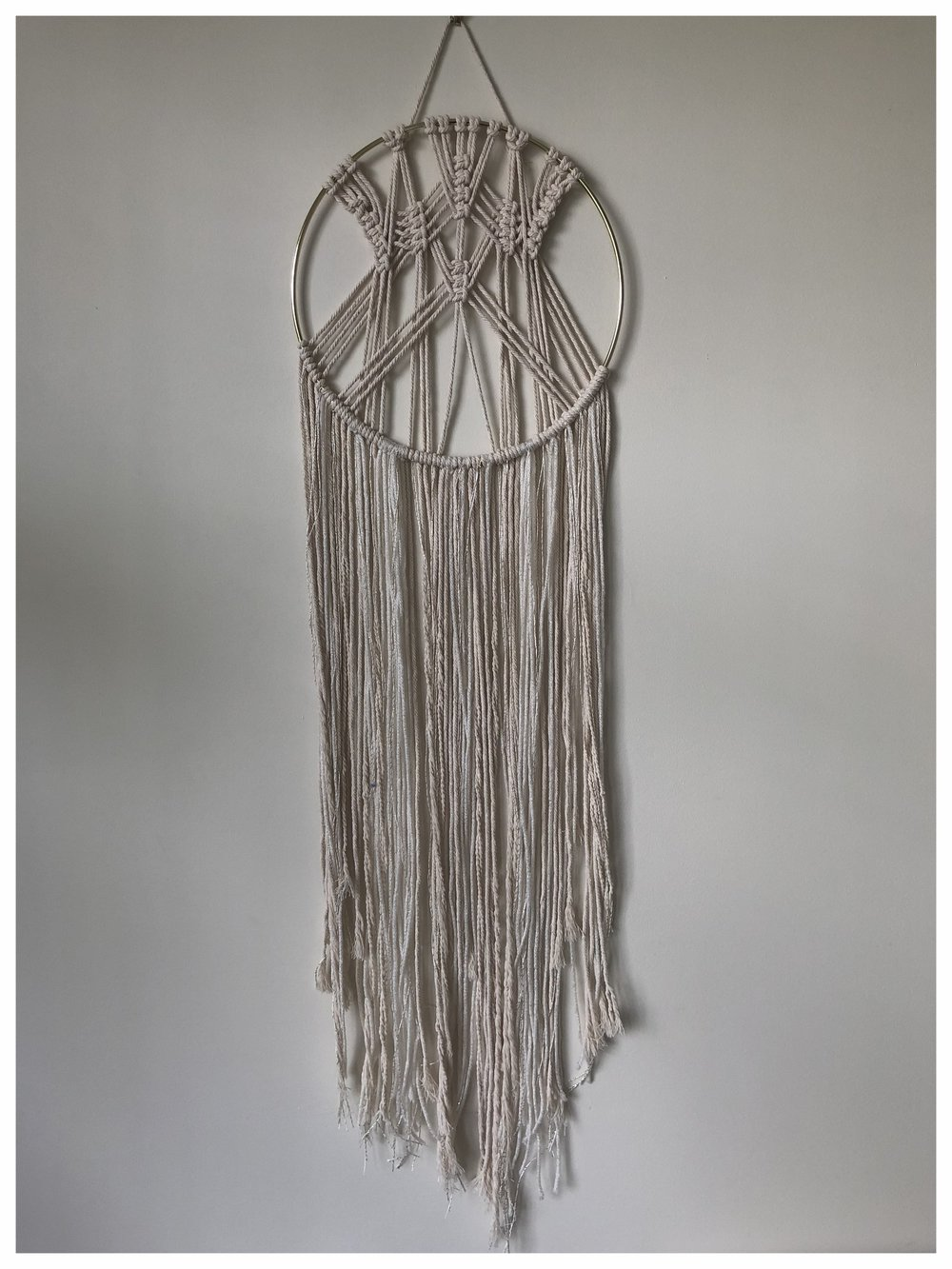 Handmade large modern macrame dream catcher with metallic and wool fringe detailing £61