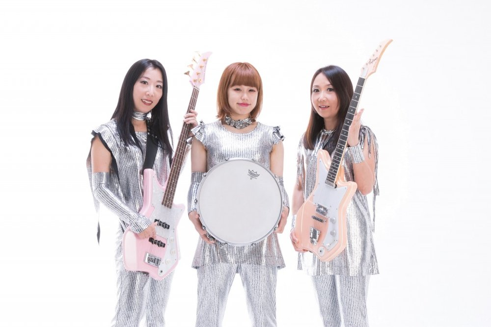 The current lineup of Shonen Knife, from left to right: Atsuko, Risa and Naoko