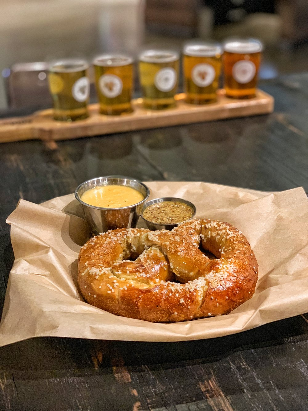 "Victory Pretzel - Seriously one of the best pretzels that you'll find around Charlotte. This is paired with a Hop Devil mustard and a Prima Pils cheese sauce. As their names suggest, they both feature Victory beer in them. The Hop Devil mustard has a nice ""kick"" to it similar to a horseradish(but there is actually no horseradish in it). I love beer cheese so of course I enjoyed it as well."