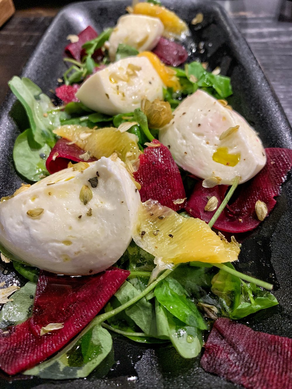 Daily Mozzarella - If you're a mozzarella fan, then this dish is for you. Beautifully prepared mozzarella with pickled beets, watercress, oranges. The coolest part of this dish - DEHYDRATED HOPS sprinkled throughout. This was a really nice touch and definitely made it memorable.