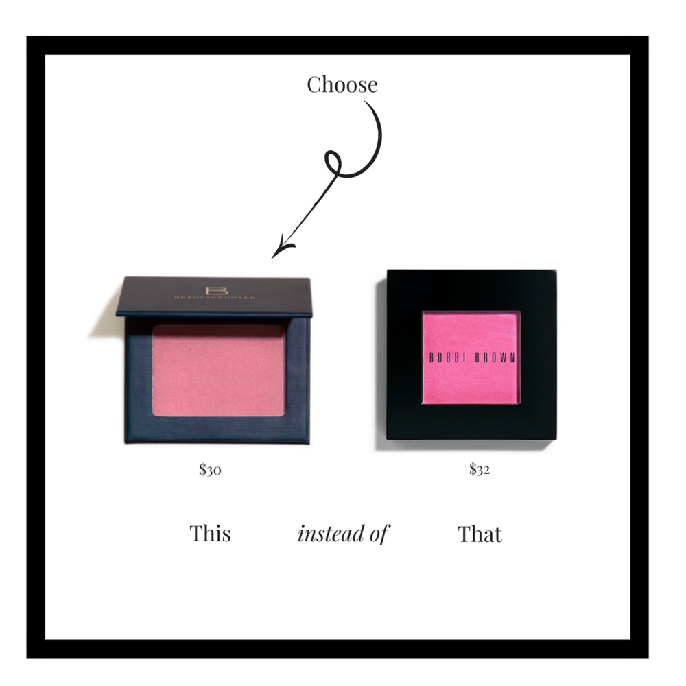 Create perfectly flushed cheeks with a natural-looking shade or a pop of color. Satin Powder Blush features shades that flatter all skin tones, in a matte finish, or with a subtle sheen.  Beautycounter blush is specially designed to deliver buildable color payoff without questionable ingredients. It is triple-milled to a precise, silky-smooth consistency and formulated with Butterpowder—an ingredient that boosts pigment and wear—so it lays down evenly and blends seamlessly.
