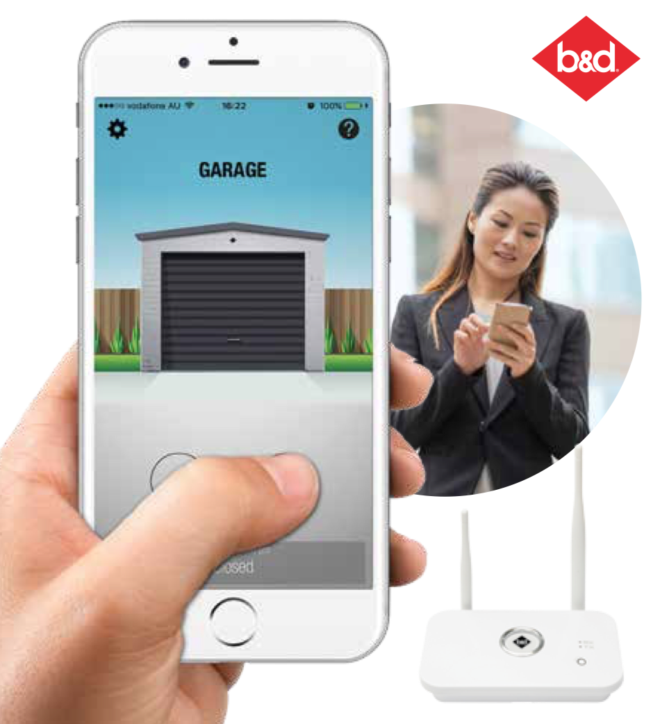Smart Phone Control Kit - An open garage is an open invitation for unwanted entry so it pays to know that you can control your door while you are away from home with B&D®. The kit allows you to monitor and control your garage door while you are at work or even on holidays from your compatible smart phone*.Best of all, the kit is available for both Rolling and Sectional style garage doors.