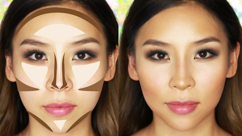 Cheeks highlighted for contouring.