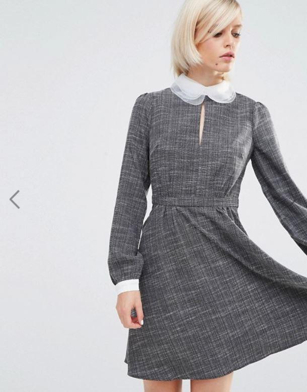 ASOS // Lost Ink Contrast Collar Dress