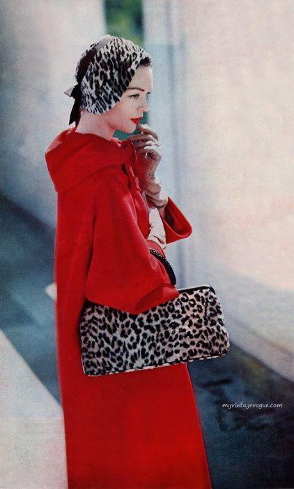 Ladies Home Journal, October 1957: Dan Millstein coat, Lilly Dache hat & Morris Moskowitz bag