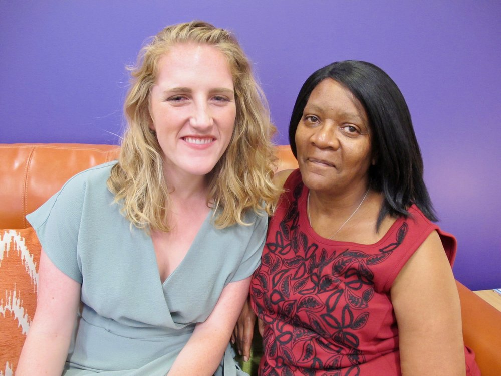 Client Advocate Catherine O'Neill (left) of Still She Rises with her client Linda Meachum. Photo credit: Nissa Rhee.