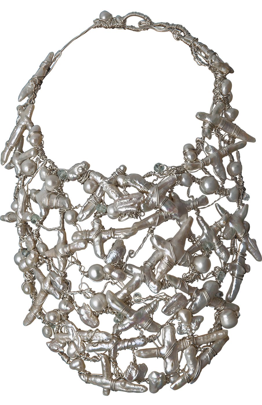 FRIDA | Fine Jewellery. Caribou Collection, Ice neck sculpture. Custom designed pearl and aquamarine neck sculpture.png