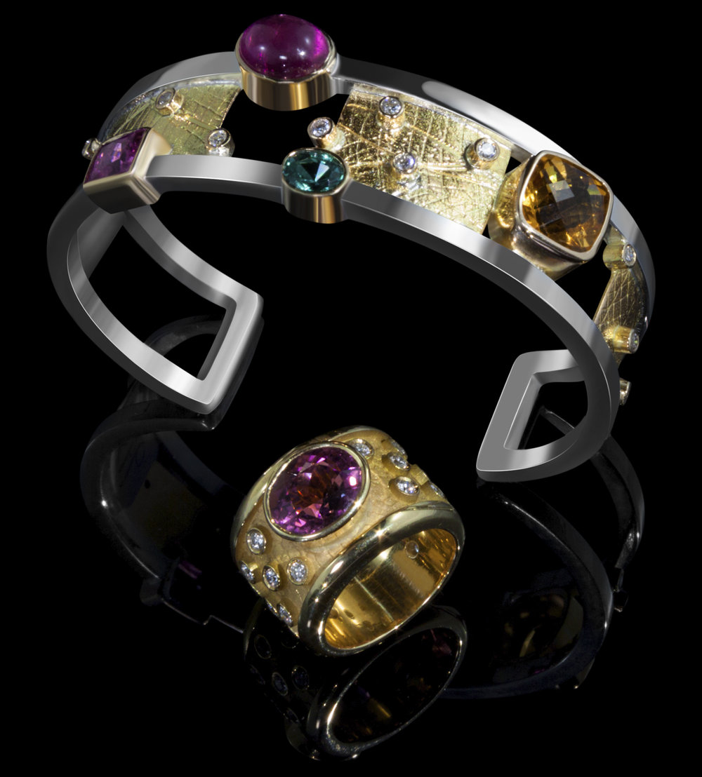 FRIDA | Fine Jewellery. Shield™ Collection. One-of-a-kind multi-coloured gemstone and diamond bangle, and tourmaline ring.jpg