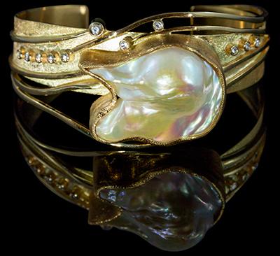 FRIDA | Fine Jewellery. Bespoke. Custom designed yellow gold, baroque pearl and diamond cuff.jpg