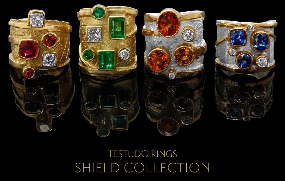 FRIDA | Fine Jewellery. Shield™ Collection, Testudo rings. Custom designed 18kt yellow gold and sterling silver rings set with rubies, emeralds, spessartites, blue sapphires and diamonds.jpg