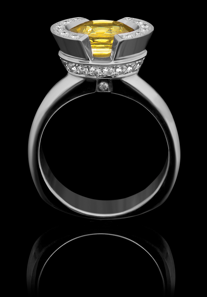 FRIDA | Fine Jewellery. Engagement, Luna. Signature Bridal. Custom designed engagement ring in 18kt white gold set with a faceted yellow sapphire and brilliant-cut diamonds.jpg