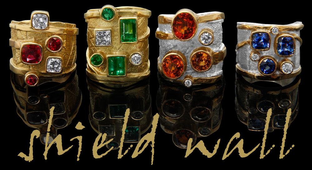 FRIDA | Fine Jewellery. Shield™ Collection, Testudo rings. Custom designed 18kt yellow gold and sterling silver rings set with rubies, emeralds, spessartites, blue sapphires and diamonds.