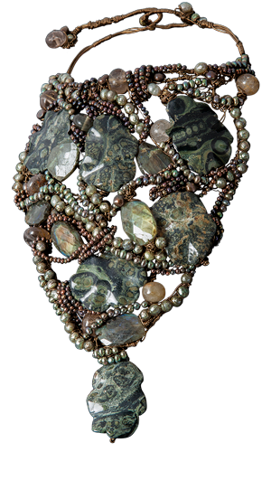 FRIDA | Fine Jewellery. Caribou Collection, Forest neck sculpture. Custom designed neck sculpture with pearls, labradorite, jasper and rutilated quartz.