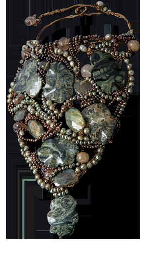 FRIDA | Fine Jewellery. Caribou Collection, Forest neck sculpture. Custom designed neck sculpture with pearls, labradorite, jasper and rutilated quartz.