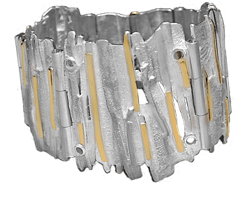 FRIDA | Fine Jewellery. Ocean Collection, Iceberg cuff. Custom designed sterling silver and 18kt yellow gold cuff.
