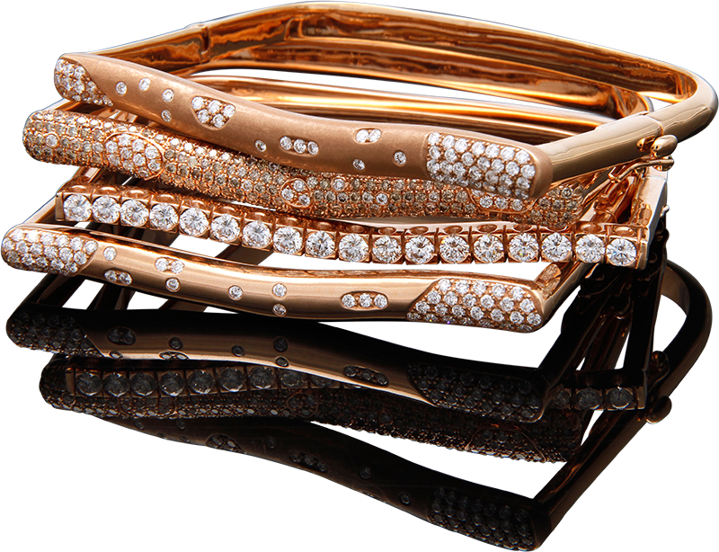 FRIDA | Fine Jewellery. Strata™ Collection. Stacking diamond bracelets in 18kt pink gold.