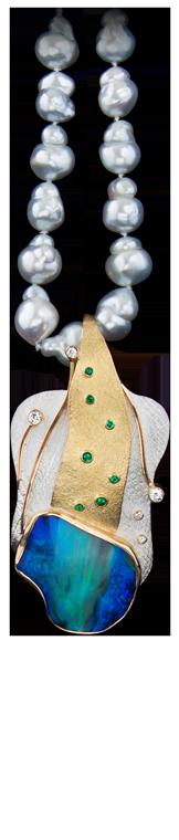 FRIDA | Fine Jewellery. Shield™ Collection. Rare Black Opal Pendant.