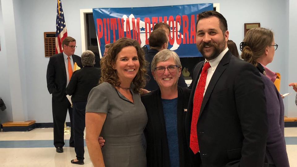Scott alongside District 1 candidate, Nancy Montgomery and County Executive candidate Maureen Fleming (left to right)