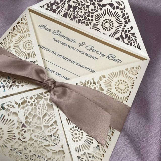 WEEKEND SALE!! FOR THIS WEEKEND ONLY!! MACY Lasercut Invitation with gold metallic envelopes £2.00 each (Usual price £2.55)  Ivory lasercut cover Gold background Ivory insert featuring brown & blue swirl Complete with taupe satin ribbon & metallic gold envelope!  Get in touch now for T&C's & to place your order!  Lisa.bolt@sapphirestationery.com  #weddings #weddinginvitations #weddinginvites #invites #invitations  #sale #specialoccasion #partyinvitations  #partyinvites #lasercut