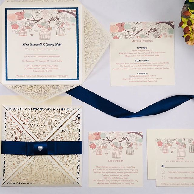 BERTY Lasercut Invitation with 2 inserts & RSVP. Envelopes included, free printing of guests names on invitations & Envelopes including return address on RSVP envelopes! All you need to do... is post them (& we can even arrange to do that for you!) 😍 @sapphire_stationery #invitations #invites #weddinginvitations #birthdayinvitations #lasercutinvites #lasercutinvitations #birdcagedesign #birdcageinvites #birdcageinvitations