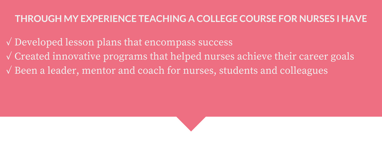 creating a course that has resulted in nurses excelling in their careerisn't new to me.. -
