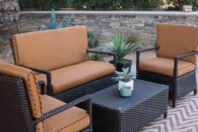 Outdoor furniture set Round Table Outdoor Furniture Set San Juan Collection Westend Cushions Umbrellas San Juan Patio Furniture Set In Southern California Westend