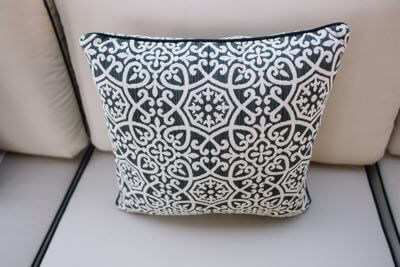 Outdoor pillow for patio furniture.