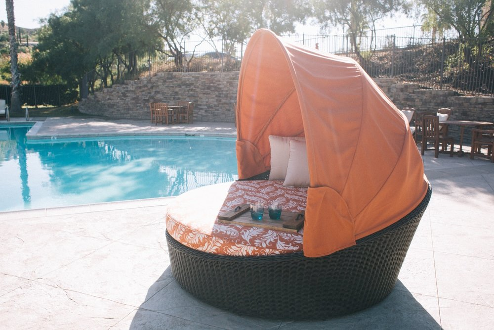 Outdoor day bed lounge chair  80W x 80D x 70H  Includes Seven 19 x 19 Throw Pillows  *Includes a protective cover