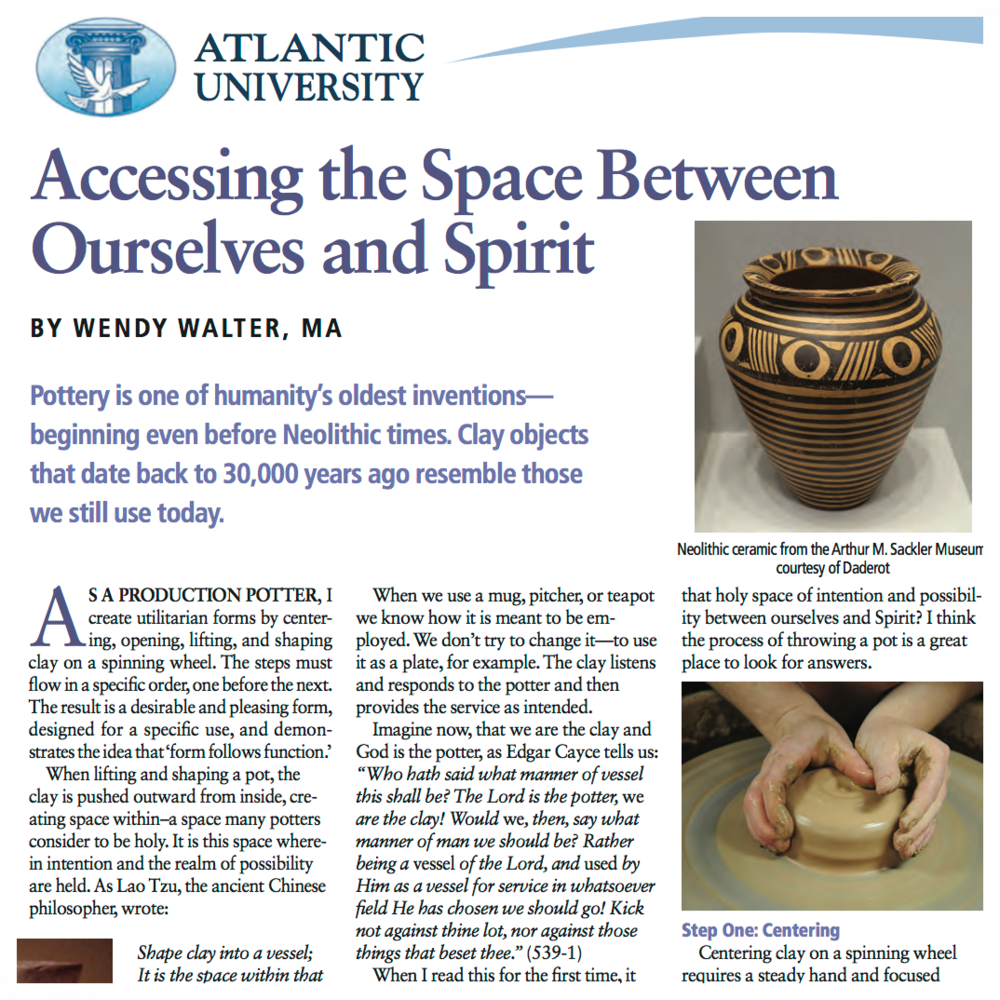 Accessing the Space Between Ourselves and Spirit   | VENTURE INWARD MAGAZINE    http://www.grotonwellness.com/wp-content/uploads/2017/06/article-wendy-walter-PG54-56.pdf