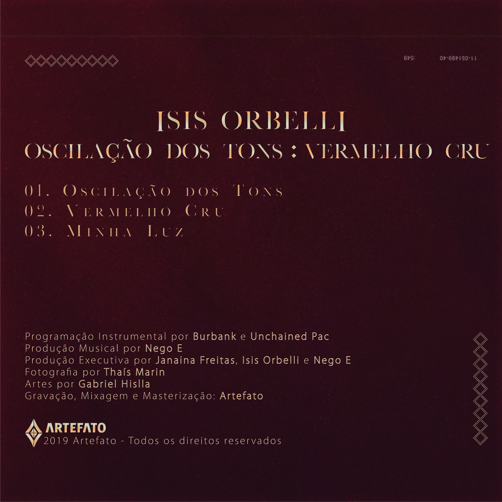 Oscilação dos Tons: Vermelho Cru - Verso do Álbum