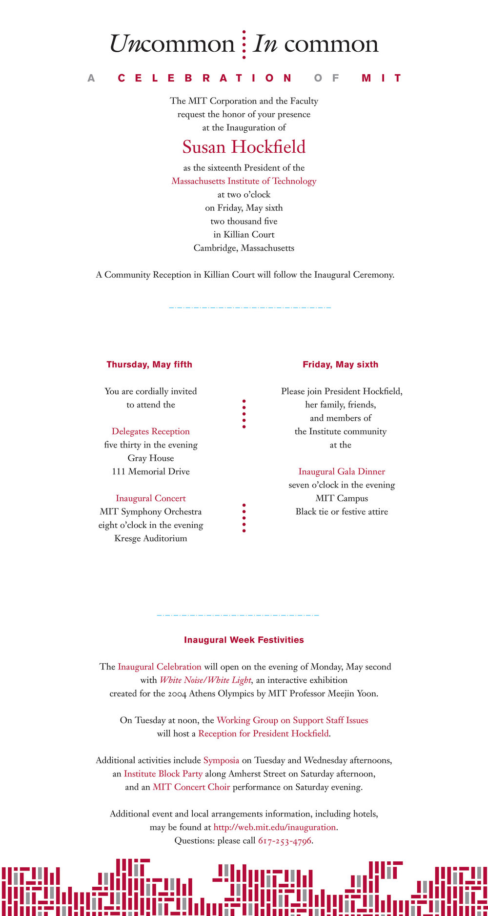 Invitation interior for MIT President Hockfield's inauguration