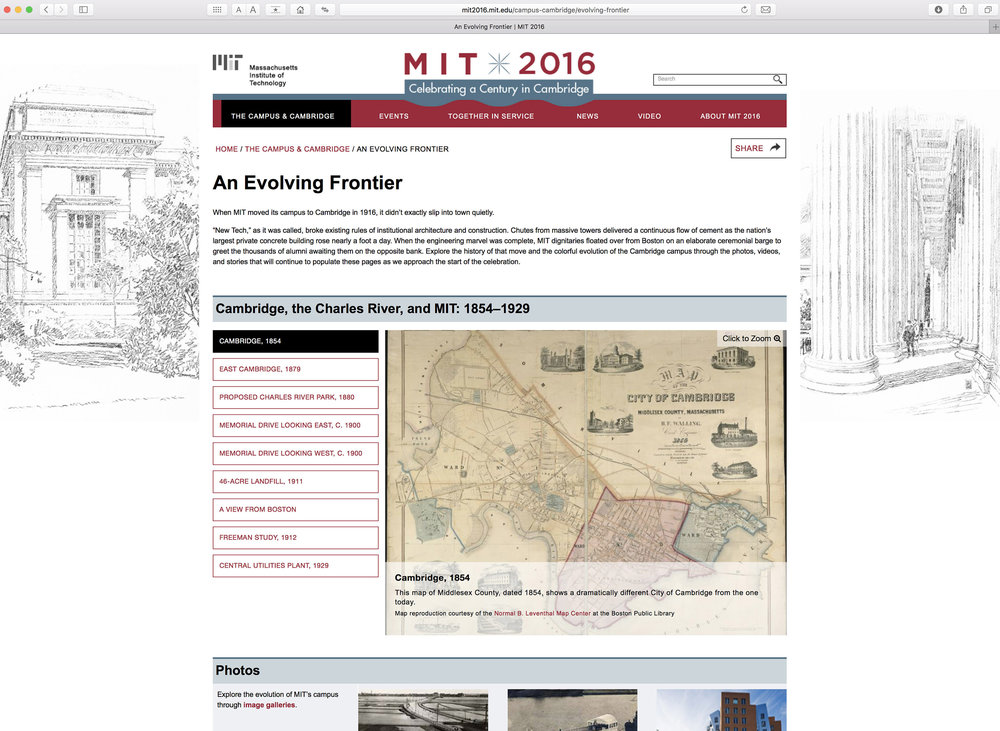 MIT 2016 website, 2nd level page