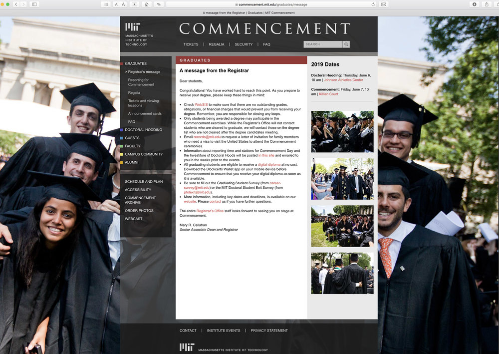 MIT Commencement website, home page