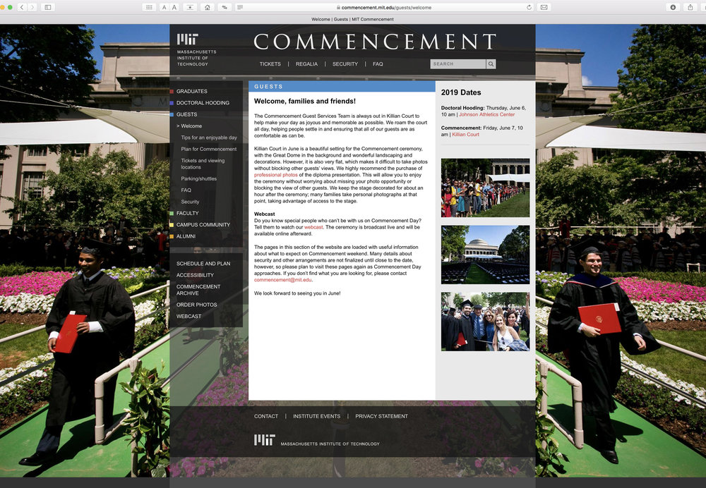 MIT Commencement website, level 2