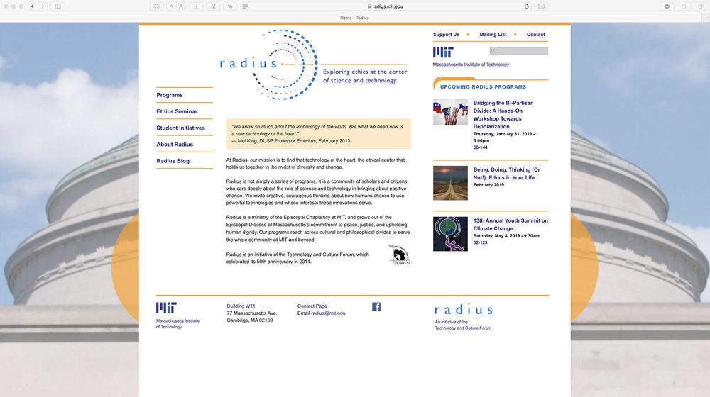 Radius, home page