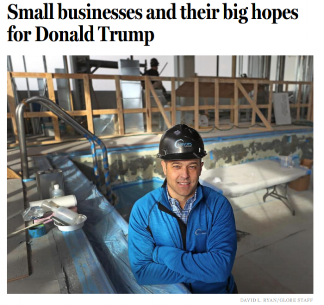 """""""From the industry I come from, construction, you are going to see a lot more spending, a more willingness to invest,"""" said Mike Haynes, co-owner of Haynes Construction in West Bridgewater, MA."""