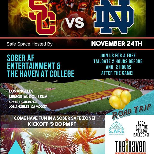 Sober Tailgate tomorrow. We are just east of the Coliseum. Mexican Food and TV Package. Come before or after the game.