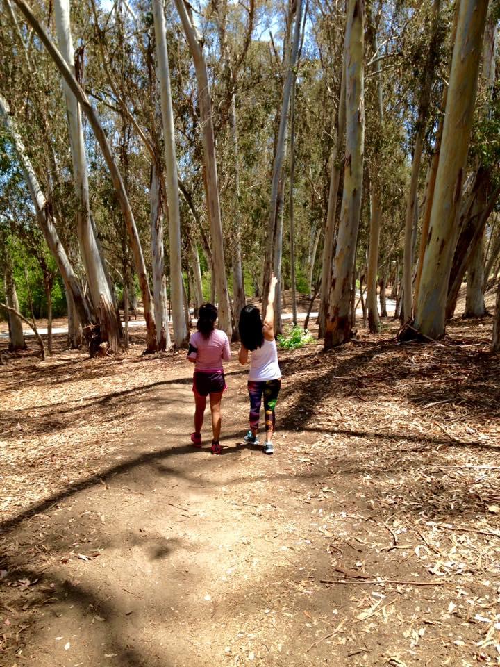 Walking through  Serrano Creek Trail