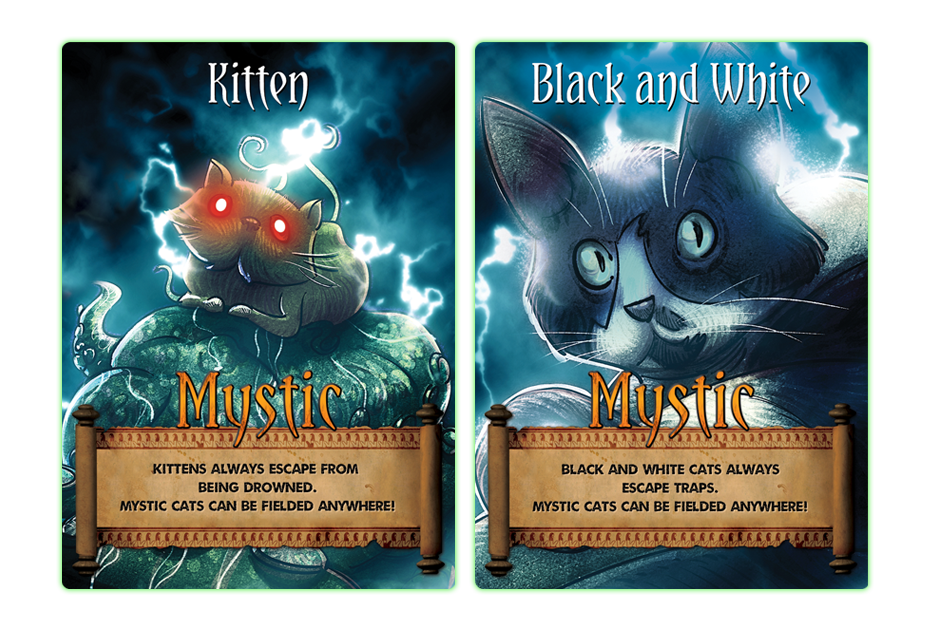 "Mystic Cat Cards  -- These cat cards are special because they are ""mystic"" and can land anywhere you need them to."