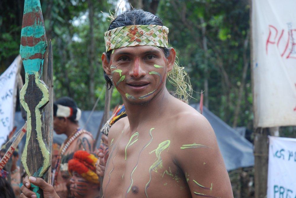 José Fachín, Kichwa leader along the River Tigre, Peru protesting oil contamination. Companies have operated in Kichwa territory for over four decades. Credit: David Hill