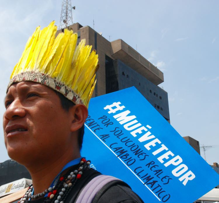 Fermín Chimatani, a Harakbut leader from Madre de Dios, Peru during the United Nations climate change talks in Lima in 2014. Credit: David Hill