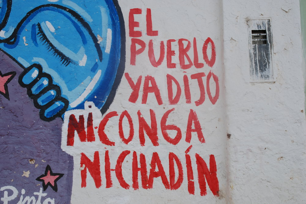 A mural in Celendín in Cajamarca, Peru, opposing the proposed Chadín 2 dam and Conga mining project. Credit: David Hill