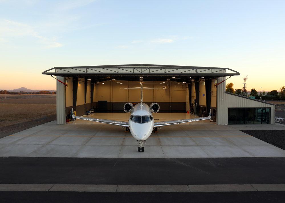 Lanz Hangar - North Elev Sunset.jpg