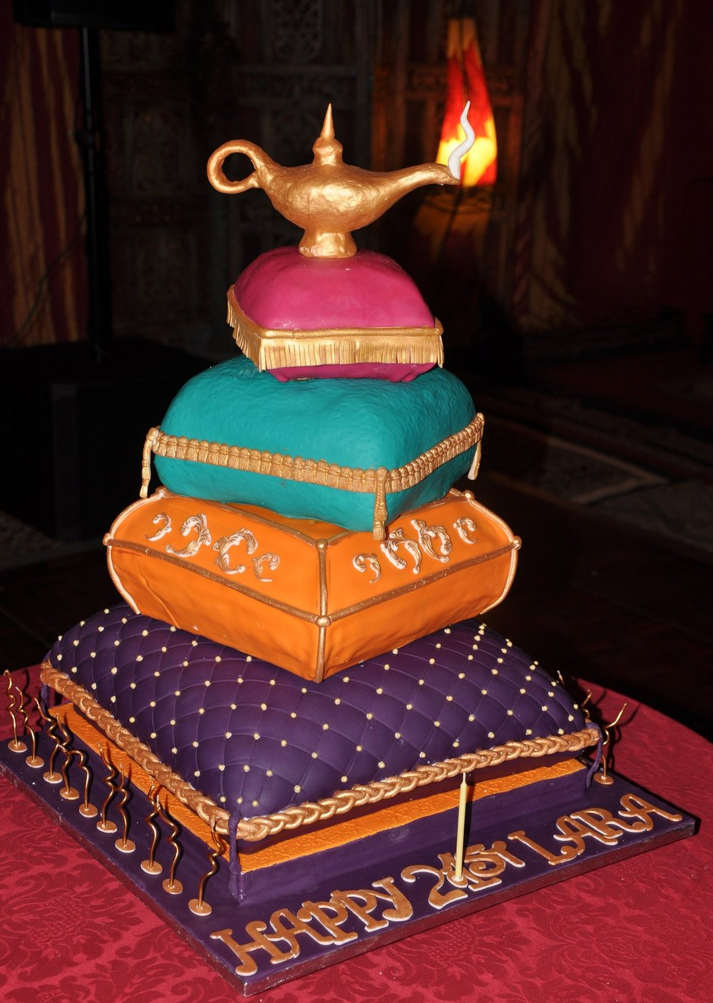 Mystic East cake - Made for Lara's 21st to fit in with her Arabian Nights theme this 4 tier pile of cushions was perfect.