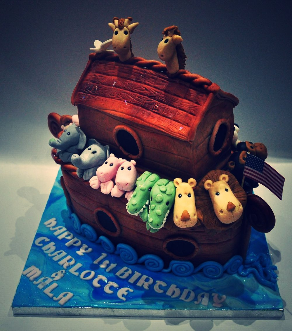 Two by two - A cute and imaginative birthday cake for twins.  This was a delicious gluten free, egg free, dairy free, vegan chocolate cake.