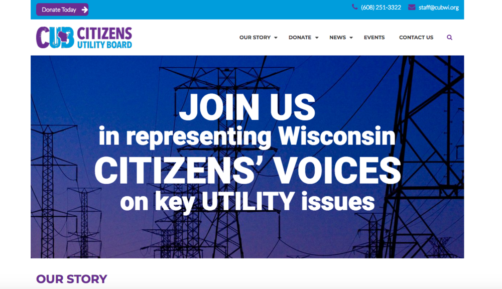 Citizens Utility Board of WI, website front page