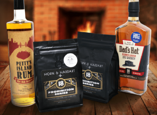 "LIMITED EDITION PROHIBITION SERIES COFFEES ""Dad's Hat Whiskey"" and ""Pettys Island Rum"" infused"